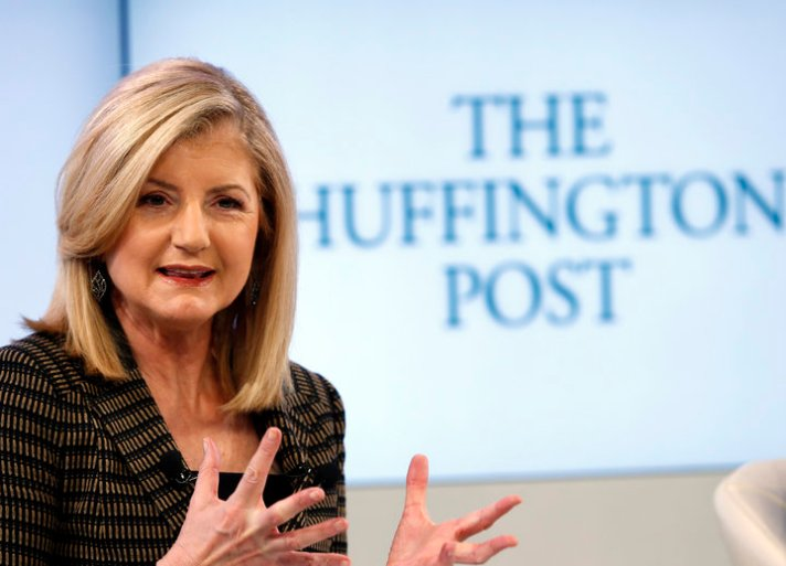 Huffington president and Editor-in-Chief of The Huffington Post Media Group attends a session at the World Economic Forum (WEF) in Davos